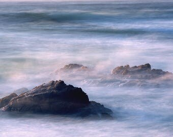 California Coast Photography - Long Exposure Photo of Rocks in the Ocean along the Central California Coast - Fine Art Nature Print
