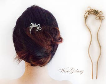 Hair pin Flower Hair jewelry Wedding accessories Hair accessory Wire hair pin Wire wrapped OOAK hair pin Gift for her