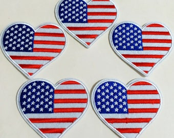 10pcs US Flag Heart USA Independant Day July 4th Patriotic Iron On Sew On Cloth Embroidered Patches Appliques Machine Embroidery Sewing DIY