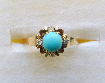 Victorian 10K rosy yellow gold claw set turquoise and diamond accent ring size 6.5