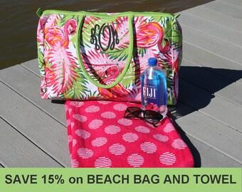Beach Bag, Beach Towel, Monogrammed Beach Towel, Monogrammed Beach Bag, Matching Beach Bag and Towel, Personalized Beach Bag, Resort Towel