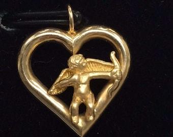 Vintage 14K Yellow Gold CUPID Heart Bracelet Charm Pendant