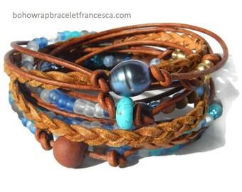 Boho Wrap Bracelet, Leather Wrap Bracelet, Leather Wrap, Wrap Bracelet Leather, Beaded Wrap, Leather Bracelet,  Leather (FREE SHIPPING)!!