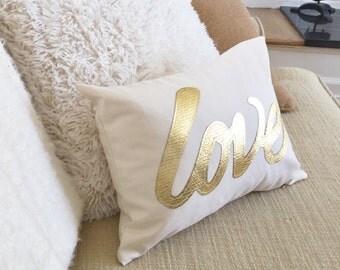 Love Pillow Cover / Gold metallic pillow / pillow with love / Metallic gold pillow / Love Pillow / gold love pillow / gold love / decorative
