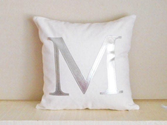 Silver Monogram Pillow Cover - Metallic Initial Pillow - Custom - Decorative Silver Letter - Personalized / Anniversary or Wedding Gift