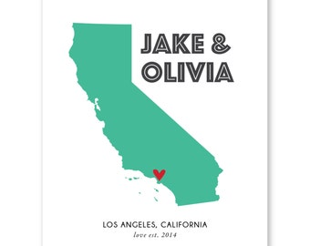 Map Art Print California,State Couples Map,Personalized Wedding Map Gift,Anniversary Gift,Valentines Day Gift for Boyfriend Girlfriend