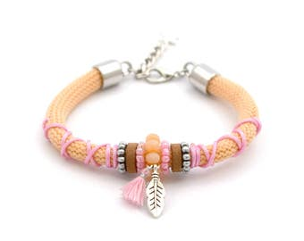 Statement bracelet peach orange / pink, feather, tassel, ibiza style
