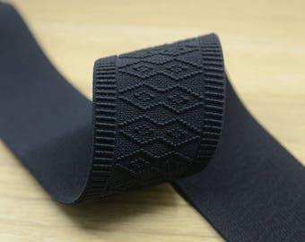 2 inch 50mm Wide Waistband Elastic,  Ethnic Pattern Black Elastic Trim,Stretchy Elastic Ribbon 21100