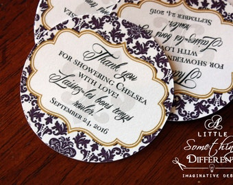 Purple and Gold Damask Thank You Tag with Fleur de Lis / New Orleans Themed Favor Tag Purple and Gold / NOLA Bridal Shower Favor Tag