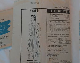 1940s WW2 Barbara Bell Mail Order Sewing Pattern #1588 Size 40 Bust Day Dress Pattern
