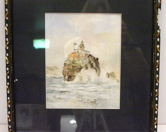 Tillamook Rock lighthouse watercolor dated 1900