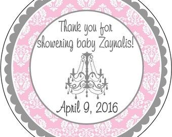 Baby Shower Labels Pink Damask with Chandelier and Silver or Gold Labels Stickers Party Favors Gift tags Wedding Shower Baby Shower