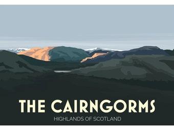 The Cairngorms, Highlands, Scotland, UK - signed travel poster print A2