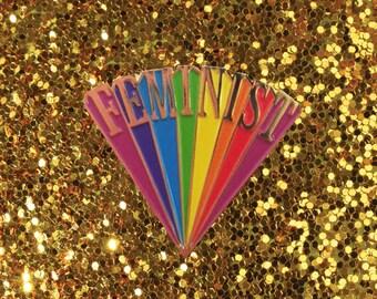 Gold Feminist Enamel Pin