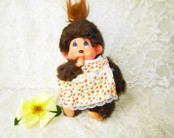 Monchhichi Monkey Doll Toy Vintage Thumb Sucking Monkey Girl Stuffed Plush Monkey Children TV Character 70s Stuffed Animal Monkey