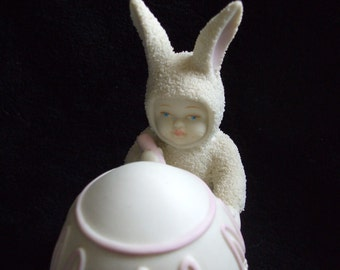 Vintage Dept. 56 Snowbaby Easter Figurine , 1996 Snowbabies Ill Color the Easter Egg