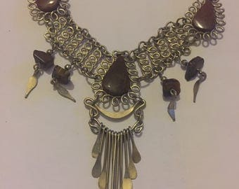 Vintage Silver Stone Set North African Tribal Swag Necklace