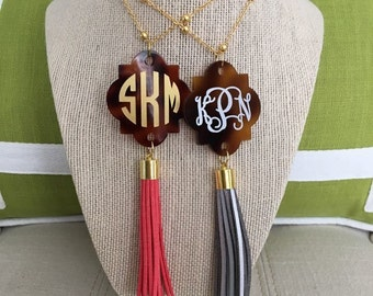 Monogrammed (faux) Tortoise Shell and Tassel Necklace - Hundreds of Color Combinations - the Perfect Personalized Accessory