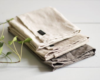 Set of three linen tea towels in your choice of color