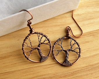 Copper Tree of Life Wire Earrings
