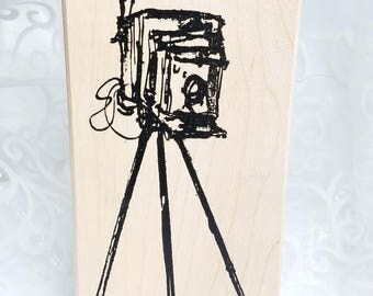 Old Fashioned Camera Rubber STamp, Art Impressions Stamp, Wood mounted, Camera on Tripod Stamp, Camera stamp, Photography Stamp Photo Stamp