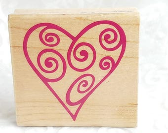 Open Swirl Heart rubber stamp by Rubber Stampede, Swirl Rubber Stamp, Valentines Day Stamp, Craft Stamp, heart stamp, Art Journal, Collage