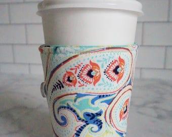Reusable Coffee Sleeve-Blue Paisley Print
