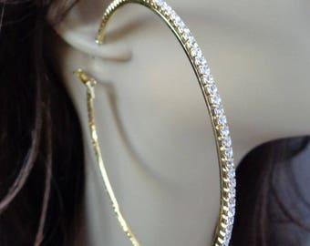 Large 3.5 inch Hoop Earrings Classic Thin Rhinestone Crystal Hoop Earrings Gold tone HOOPS