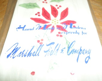 Vintage Christmas Tea Towels Lot of 3 Hand Made in Madera for Marshall Field & Co.