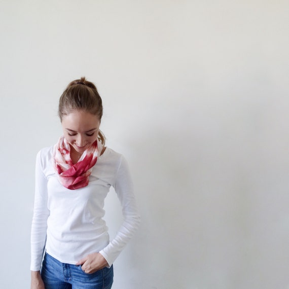 Red Scarf-Infinity Scarf-Silk-Scarf-Scarves-Scarves for Fall-Scarves for Summer--Scarves for Spring-Holiday Gift-Gift for Mom-Gift for My