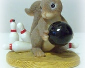 """Charming Tails Mouse - """"Spare Me"""" - Bowling Pins and Ball Mouse - Fitz and Floyd"""