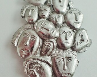 "Whimsical And Unique Multiple ""Faces"" Brooch Pin"