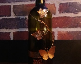 Wine Bottle Incense Stick Burner, Ivy and Butterfly, Handmade by Copper illuminate.