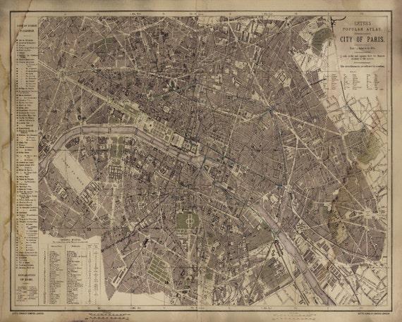 Paris Map Vintage Rustic Circa Paris Map Print Poster - Restoration hardware paris map