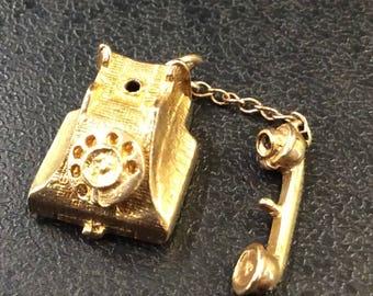 9ct gold telephone charm ,1960s ,4.7gm