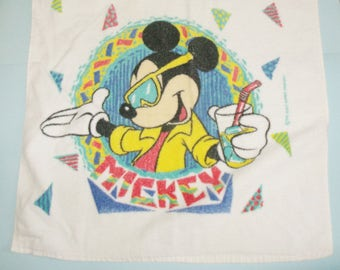 Disney Mickey Mouse Beach Towel Vintage Mickey Wearing Sunglasses and Holding Iced Beverage Glass Beach Towel 1980s The Walt Disney Company