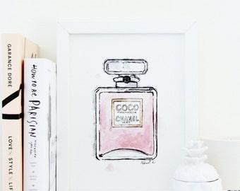 Chanel Coco Mademoiselle Fashion Illustration Watercolor Print