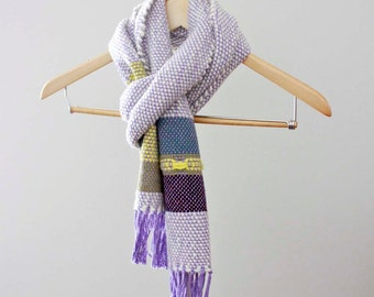 Woven Purple Scarf, Womens Wool Scarf, Warm Scarf, Winter Scarf, Colorful Scarf, Gift for Her, Boho Scarf, Chunky Scarf