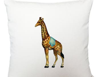 Circus giraffe cushion cover, scatter cushion, throw cushion, white cushion