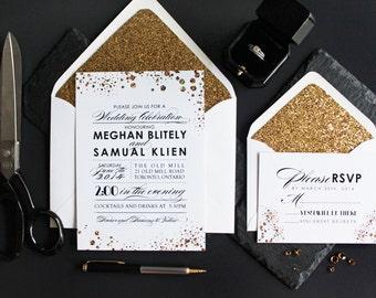 Gold Modern Confetti Wedding Invitations//Statement Wedding Invitations.  Elegant Wedding Stationery. Rich Typography.  Glitter Invites.