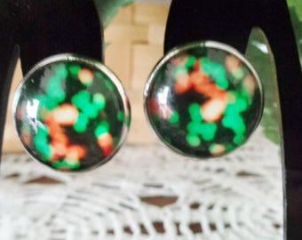 Green/Orange Cabochon Clip on Earrings