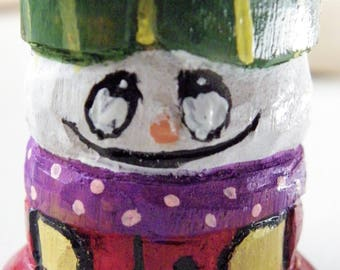 Adorable, one of a kind, carved wooden spool Snowman
