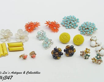 Lot of 10 Pairs Assorted Vintage Clip and Screw Back Earrings (Inventory #J347)