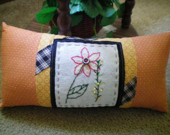 Hand Stitched Flower Accent Pillow ~ Cute!