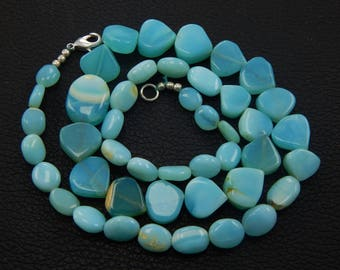 """Great sale wholesale price 171.10 natural Blue Peru Opal oval &heart shape Beads size 7x8-13x16 mm smooth,  19.5"""" long necklace"""