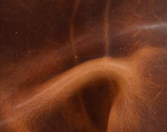 "Grunge Dark Saddle Tan Rustic Marbled Cowhide 4"" x 6"" Project Piece 5 ounces TA-49953 (Sec. 3,Shelf 6,C,Box 5)"