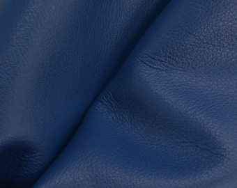 "Regal Royal Blue ""Signature""  Leather Cow Hide 4"" x 6"" Pre-Cut 2 1/2-3 oz flat grain DE-52167 (Sec. 8,Shelf 6,D,Box 3)"