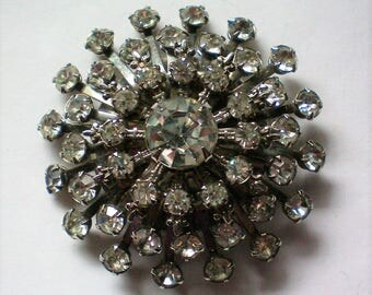 Huge Domed Multi-layered Rhinestone Brooch - 5338