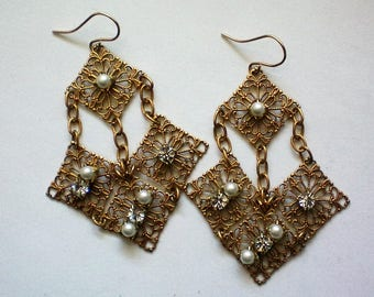 Gold tone Dangle Earrings with faux Pearls and Rhinestones - 5373