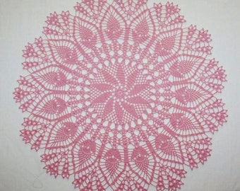 Large Pink Crochet Doily, Round Lace Doily, Pink Flower Doily, Cotton Doily, Lace Tablecloth, 19 inches